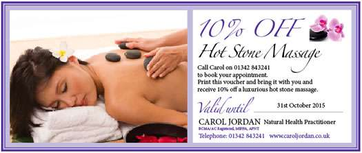 Carol Jordan Hot Stones discount voucher