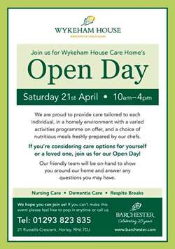 Wykham House, Horley, Open Day 21st April