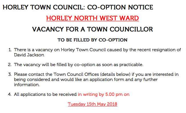 Vacancy on Horley Town Council