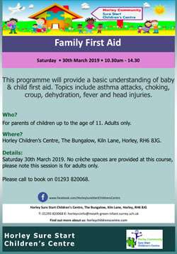 Horley, Surrey, Family First Aid