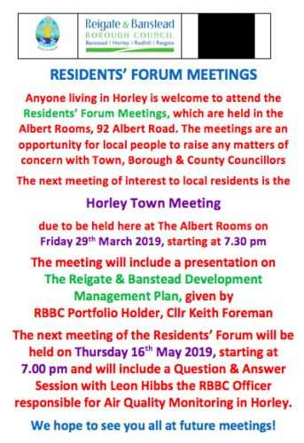 Horley Town Meeting in March and April 2019