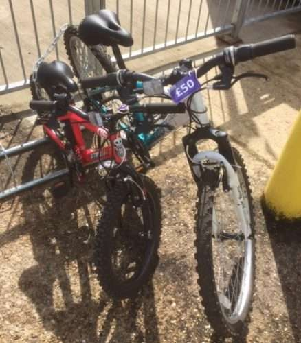 Bikes for sale at the Earlswood Revive Shop near Horley, Surrey.