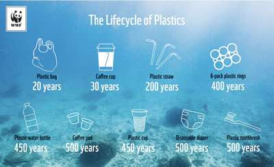 The lifecycle of plastic as shown by the World Wildlife Fund Australia.